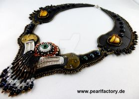 Eyelight - Bead Emboridery Leather Necklace by Muriel-Leland