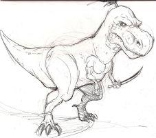 T-rex...with a sword. by Frodude13