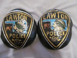 City of Lawton Ok Police Patch on stone by AmandaFerguson070707