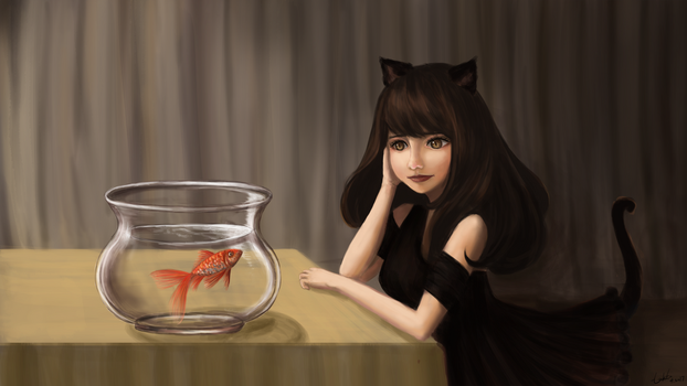 Cat and Fish by Lukto