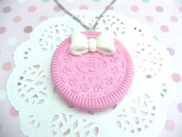 Pastel Pink Oreo With White Bow Necklace by ClockworkCrafter