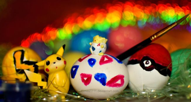Let's paint eggs, Pikachu! by Bimmi1111
