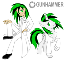 Commission: Gunhammer (Pony/ Human) by Trinityinyang