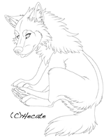 Lineart wolf pup female by hecatehell