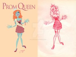 Zombie Prom Queen sketch by melivillosa