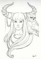 Horned Girl with Owl by Deviant-Mizu