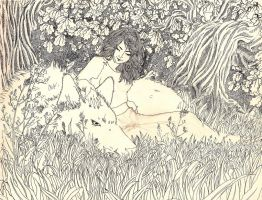 luthien Tinuviel and Huan by Implosinoatic
