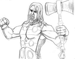 Ultimate Thor pencils by albonia