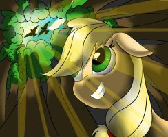 Applejack in the Woods by Scootaloosh