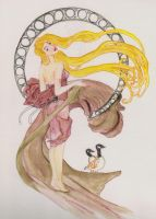 The Goose Girl -Mucha by fireburner543