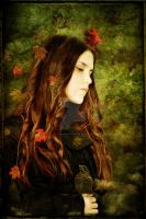 Girl with Blackbird by MagpieMagic