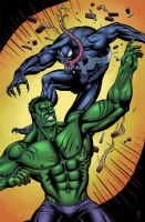 Venom vs Hulk by electronicron