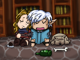 Chibi Fenris - Reading Time by Prince-in-Disguise