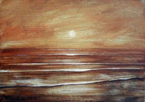 (Sunset) tempera on cardboard by Boias