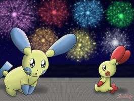 Plusle and Minun by Rose-Beuty