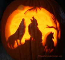 Wolf pack carving (2012) by UniquelySane