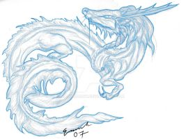 Blue Dragon - Sketch by MadMooCow