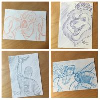 Sketch cards mix by panblanco37