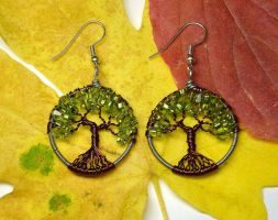 Wire Wrapped Tree of Life Earrings by LoneWolfjewelry