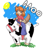 Alex riding a cow-colored by inuyashasno1girl