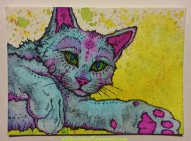 Psycedelic Cat ATC :for sale: by whitew3r3wolf
