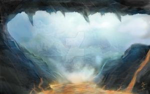 Fiery Cave Entrance by Superlitin