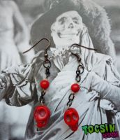 RED SKULL  EARRINGS by TocsinDesigns