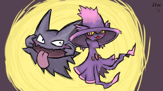 Haunter and Mismagius by xivelx