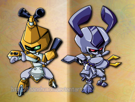 Chibis Metabee and Rokusho by Hanshumon
