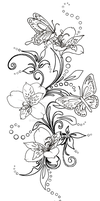 Butterfly and Flowers Tattoo by Metacharis