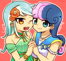 MLP EqG: Lyra and Bonbon by 00riko