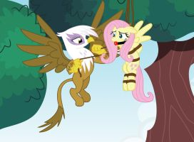 Greedy Gilda and Fluttershy by radiantrealm