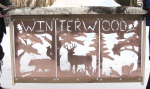 Winterwood Copper Sign - 3 Panels in a Wood Frame by PurlyZig