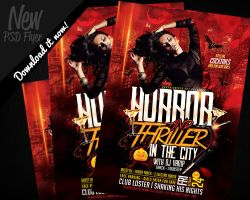 Horror and Thriller Halloween DJ Party Flyer by REMAKNED