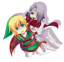 -- Chibi Link and Ghirahim -- by Kurama-chan