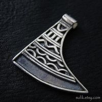 Silver axe amulet from medieval Poland by Sulislaw