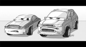Pixar Cars 2 - Sketches - 2 serious by Lizkay
