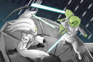 Ankhgorian vs. Kit Fisto WIP by GavinMichelli