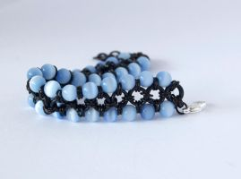 Chainmaille Bracelet - black w/ blue beads by DarkAlchemistSakura