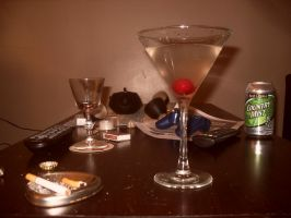 Martini with cherry and Camel and Kool cigarettes by Andreasantoni