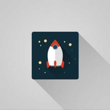 Flat Space Rocket Icon by DRX-Design