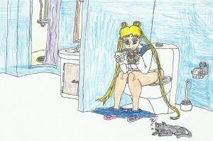 Usagi from Sailor Moon on the toilet by SHADOWLOUIX