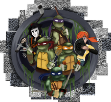 TMNT fighting team by Doodlz18