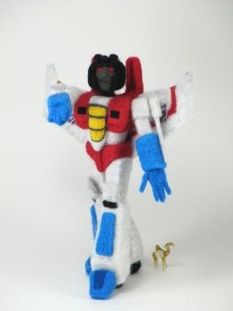 Needle-Felted Starscream by GlassCamel