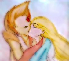 flame kiss_ Fionna x Flame prince by sunsaki