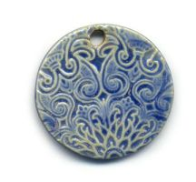 Cerulean Sari Ceramic Pendant by ChinookDesigns