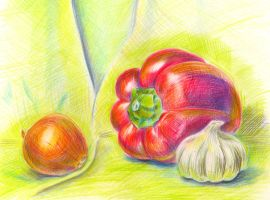 Sweet pepper, onion and garlic by jkBunny