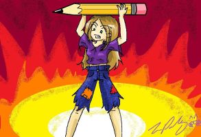 Me wielding my weapon MS paint by TheReza13
