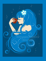 _Apple in deep  blue_ by windingkira