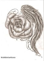 winged rose by Kiddotattoo